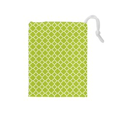 Spring Green Quatrefoil Pattern Drawstring Pouch (medium) by Zandiepants