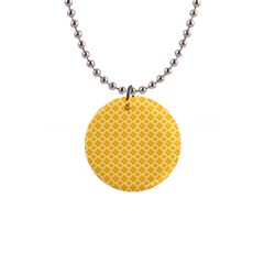 Sunny Yellow Quatrefoil Pattern 1  Button Necklace by Zandiepants