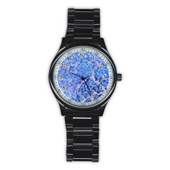 Festive Chic Light Blue Glitter Shiny Glamour Sparkles Stainless Steel Round Watch by yoursparklingshop