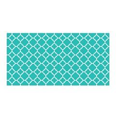 Turquoise Quatrefoil Pattern Satin Wrap by Zandiepants