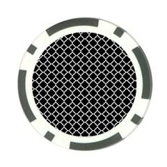 Black & White Quatrefoil Pattern Poker Chip Card Guard by Zandiepants
