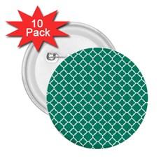 Emerald Green Quatrefoil Pattern 2 25  Button (10 Pack) by Zandiepants