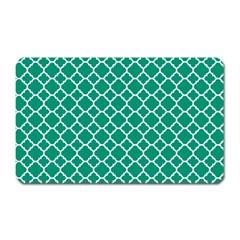 Emerald Green Quatrefoil Pattern Magnet (rectangular) by Zandiepants