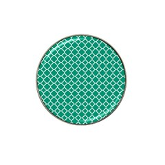 Emerald Green Quatrefoil Pattern Hat Clip Ball Marker by Zandiepants