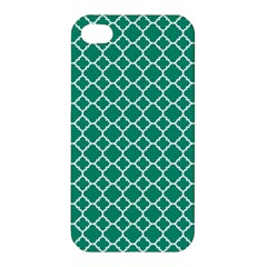 Emerald Green Quatrefoil Pattern Apple Iphone 4/4s Hardshell Case by Zandiepants
