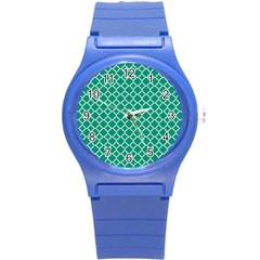 Emerald Green Quatrefoil Pattern Round Plastic Sport Watch (s) by Zandiepants
