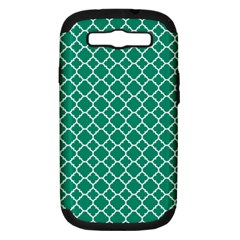 Emerald green quatrefoil pattern Samsung Galaxy S III Hardshell Case (PC+Silicone) by Zandiepants