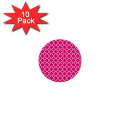 Hot Pink Quatrefoil Pattern 1  Mini Button (10 Pack)  by Zandiepants