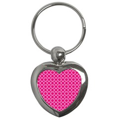 Hot Pink Quatrefoil Pattern Key Chain (heart) by Zandiepants