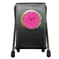 Hot Pink Quatrefoil Pattern Pen Holder Desk Clock by Zandiepants