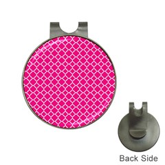 Hot Pink Quatrefoil Pattern Golf Ball Marker Hat Clip by Zandiepants