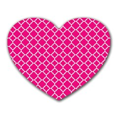 Hot Pink Quatrefoil Pattern Heart Mousepad by Zandiepants