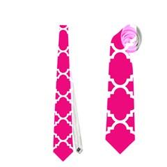 Hot Pink Quatrefoil Pattern Necktie (one Side) by Zandiepants