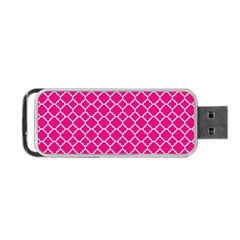 Hot Pink Quatrefoil Pattern Portable Usb Flash (one Side) by Zandiepants