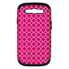 Hot Pink Quatrefoil Pattern Samsung Galaxy S Iii Hardshell Case (pc+silicone) by Zandiepants
