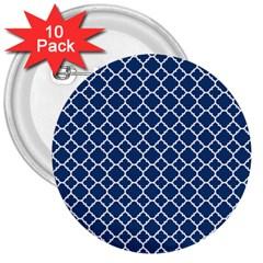Navy Blue Quatrefoil Pattern 3  Button (10 Pack) by Zandiepants