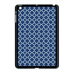 Navy Blue Quatrefoil Pattern Apple Ipad Mini Case (black) by Zandiepants