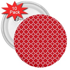 Poppy Red Quatrefoil Pattern 3  Button (10 Pack) by Zandiepants