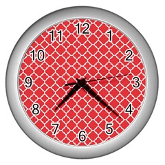 Poppy Red Quatrefoil Pattern Wall Clock (silver) by Zandiepants