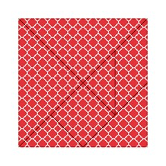 Poppy Red Quatrefoil Pattern Acrylic Tangram Puzzle (6  X 6 ) by Zandiepants