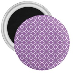 Lilac Purple Quatrefoil Pattern 3  Magnet by Zandiepants