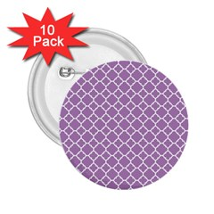 Lilac Purple Quatrefoil Pattern 2 25  Button (10 Pack) by Zandiepants