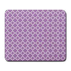 Lilac Purple Quatrefoil Pattern Large Mousepad by Zandiepants