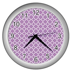 Lilac Purple Quatrefoil Pattern Wall Clock (silver) by Zandiepants