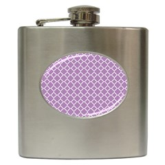 Lilac Purple Quatrefoil Pattern Hip Flask (6 Oz) by Zandiepants