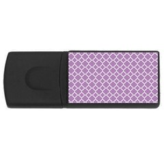 Lilac Purple Quatrefoil Pattern Usb Flash Drive Rectangular (4 Gb) by Zandiepants
