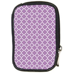 Lilac Purple Quatrefoil Pattern Compact Camera Leather Case by Zandiepants