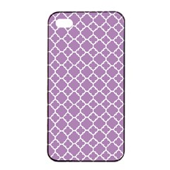 Lilac Purple Quatrefoil Pattern Apple Iphone 4/4s Seamless Case (black) by Zandiepants