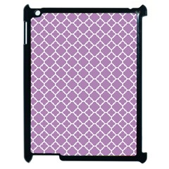 Lilac Purple Quatrefoil Pattern Apple Ipad 2 Case (black) by Zandiepants