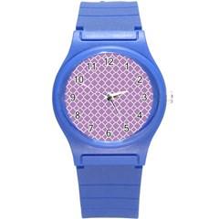 Lilac Purple Quatrefoil Pattern Round Plastic Sport Watch (s) by Zandiepants