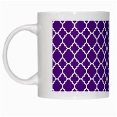 Royal Purple Quatrefoil Pattern White Mug by Zandiepants