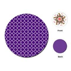 Royal Purple Quatrefoil Pattern Playing Cards (round)