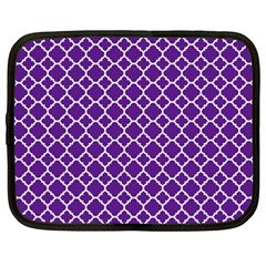 Royal Purple Quatrefoil Pattern Netbook Case (xxl) by Zandiepants