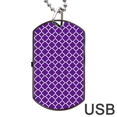 Royal Purple Quatrefoil Pattern Dog Tag Usb Flash (two Sides) by Zandiepants