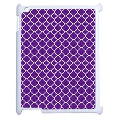 Royal Purple Quatrefoil Pattern Apple Ipad 2 Case (white) by Zandiepants