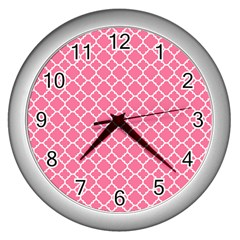 Soft Pink Quatrefoil Pattern Wall Clock (silver) by Zandiepants