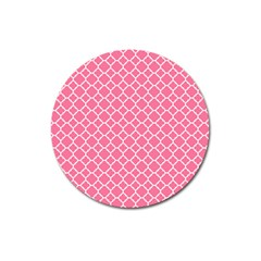 Soft Pink Quatrefoil Pattern Magnet 3  (round) by Zandiepants