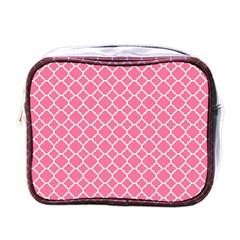 Soft Pink Quatrefoil Pattern Mini Toiletries Bag (one Side) by Zandiepants