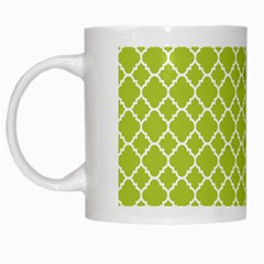 Spring Green Quatrefoil Pattern White Mug by Zandiepants
