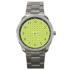 Spring Green Quatrefoil Pattern Sport Metal Watch by Zandiepants