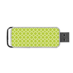 Spring Green Quatrefoil Pattern Portable Usb Flash (one Side) by Zandiepants