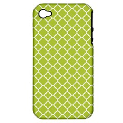 Spring Green Quatrefoil Pattern Apple Iphone 4/4s Hardshell Case (pc+silicone) by Zandiepants