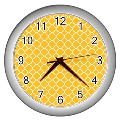 Sunny Yellow Quatrefoil Pattern Wall Clock (silver) by Zandiepants