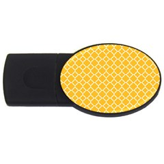 Sunny yellow quatrefoil pattern USB Flash Drive Oval (1 GB) by Zandiepants