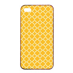 Sunny Yellow Quatrefoil Pattern Apple Iphone 4/4s Seamless Case (black) by Zandiepants