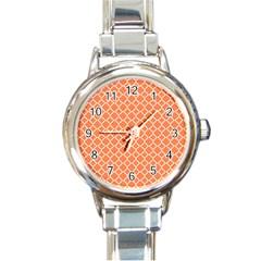 Tangerine Orange Quatrefoil Pattern Round Italian Charm Watch by Zandiepants